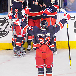 New York Rangers center Brad Richards (19) celebrates his goal with line mates Marian Gaborik, Mats Zuccarello, Brian Boyle and Anton Stralman during first period NHL action between the New York Islanders and the New York Rangers at Madison Square Garden in New York, N.Y.