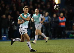 Connacht's Thomas Farrell gets the ball away<br /> <br /> Photographer Simon King/Replay Images<br /> <br /> Guinness Pro14 Round 9 - Cardiff Blues v Connacht Rugby - Friday 24th November 2017 - Cardiff Arms Park - Cardiff<br /> <br /> World Copyright © 2017 Replay Images. All rights reserved. info@replayimages.co.uk - www.replayimages.co.uk