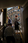 Passengers at the exit/entrance of Bank Underground station during an unusual autumn heatwave on 13th September 2016, in the City of London, England.