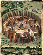 Illustration of  an Algonkian Indian Village 1587. John White.