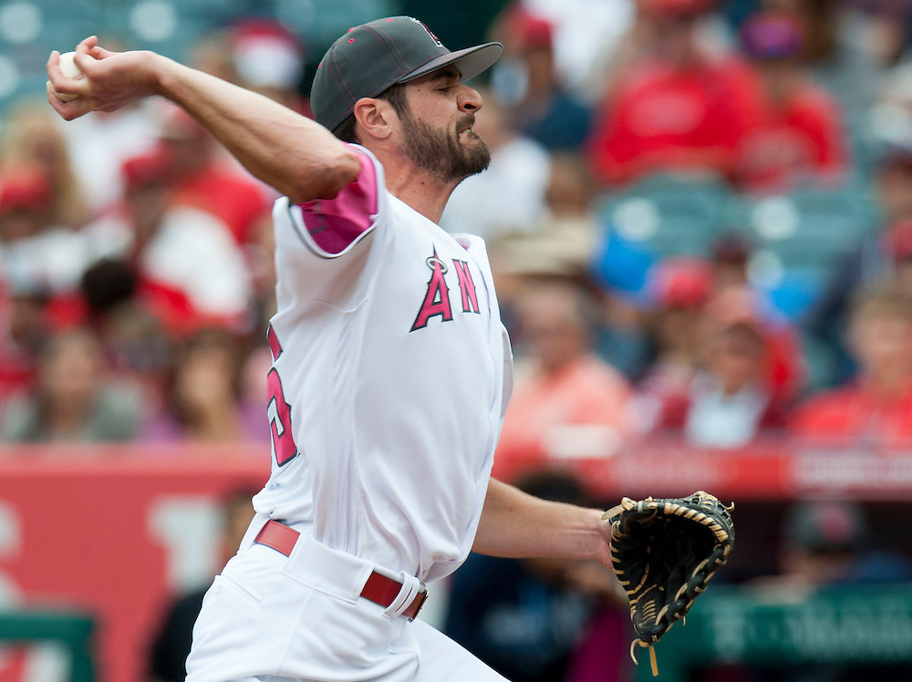 Starting pitcher Nick Tropeano throws against the Tampa Bay Rays Sunday at Angel Stadium.<br /> <br /> ///ADDITIONAL INFO:   <br /> <br /> angels.0509.kjs  ---  Photo by KEVIN SULLIVAN / Orange County Register  --  5/8/16<br /> <br /> The Los Angeles Angels take on the Tampa Bay Rays at Angel Stadium Sunday.<br /> <br />  5/8/16