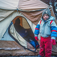 3-year old Ben Wiltsie stands outside a chilly tent at Tenboche Monastery in Nepal.
