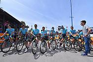 Start, Fabio ARU (ITA)/ Team ASTANA (KAZ) lines up at the start in memory of Michele SCARPONI (ITA)/ Dario CATALDO (ITA)/ Pello BILBAO (ESP)/ Zhandos BIZHIGITOV (KAZ)/ Jesper HANSEN (DEN)/ Tanel KANGERT (EST)/ Luis Leon SANCHEZ (ESP)/ Paolo TIRALONGO (ITA)/ Andrey ZEITS (KAZ), during the 100th Tour of Italy 2017, Giro d'Italia, Stage 1, Alghero - Olbia (206km), on May 5, in Sardegna, Italy - Photo Tim De Waele / ProSportsImages / DPPI