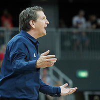 02 August 2012: Great Britain head coach Chris Finch is seen during 79-78 Team Spain victory over Team Great Britain, during the men's basketball preliminary, at the Basketball Arena, in London, Great Britain.