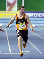 Photo: Rich Eaton.<br /> <br /> Norwich Union European Indoor Trials and UK Championships, Sheffield. 11/02/2007. Craig Pickering centre wins the mens 60 metres final