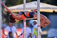 Poland, Radom - 2020 September 12: Izabela Kalenik (MKS Boleslavia Boleslawiec) from Poland competes in women's high jump final while 74. PZLA Athletics Polish Championships U20 - Radom 2020 - Day#2 during pandemic COVID-19 at MOSiR Stadium on September 12, 2020 in Radom, Poland.<br /> <br /> Mandatory credit:<br /> Photo by © Adam Nurkiewicz<br /> <br /> <br /> Adam Nurkiewicz declares that he has no rights to the image of people at the photographs of his authorship.<br /> <br /> Picture also available in RAW (NEF) or TIFF format on special request.<br /> <br /> Any editorial, commercial or promotional use requires written permission from the author of image. Single publication only for informational, journalistic or documentary purposes inside a newspaper, magazine or book (digital versions allowed). One edition on the territory of one country. Resale is forbidden.<br /> <br /> Image can be used in the press when the method of use and the signature does not hurt people on the picture.