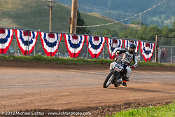 Ryan Van Wey in the Spirit of Sturgis antique motorcycle flat track race at the historic Sturgis Half Mile during the 78th annual Sturgis Motorcycle Rally. Sturgis, SD. USA. Monday August 6, 2018. Photography ©2018 Michael Lichter.