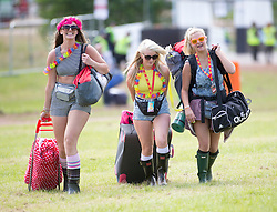 Savanah McEwan, Emma Jane Grant, Veronica Sardecka. The opening of the T in the Park 2015 campsite for the very first year at its new home at Strathallan Castle.