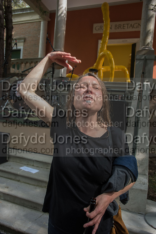 SARAH LUCAS AT THE OPENING OF HER  EXHIBITION AT THE BRITISH PAVILION, Venice Biennale, Venice. 6 May 2015