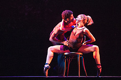 © Licensed to London News Pictures. 25/04/2012. London, UK. Making its UK Premiere at the West Ends Peacock Theatre Ballet Revolución is an explosive fusion of ballet, contemporary dance and hip hop from a company of supremely talented Cuban dancers and live musicians. Picture shows Jenny Sosa Martinez & Moisés Leon Noriega. Photo credit : Tony Nandi/LNP