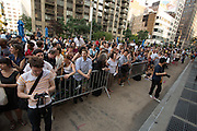 A crowd of hundreds filled the pedestrian plaza to watch the performance.