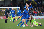 AFC Wimbledon midfielder Scott Wagstaff (7) and AFC Wimbledon striker Joe Pigott (39) unhappy with the ref who called a foul during the EFL Sky Bet League 1 match between AFC Wimbledon and Bolton Wanderers at the Cherry Red Records Stadium, Kingston, England on 7 March 2020.