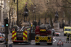 © licensed to London News Pictures. London, UK 23/11/2012. A naked man sitting on a statue in Whitehall, London. Incident caused police forces and fire brigade cordoning Whitehall on 23/11/12. Photo credit: Tolga Akmen/LNP