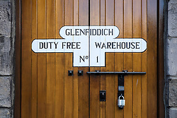 Duty free bonded warehouse doors at Glenfiddich whisky distillery in Scotland