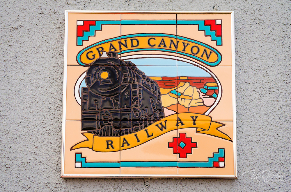 Grand Canyon Railway plaque, Williams, Arizona USA