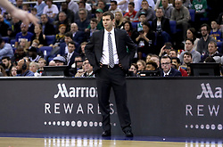 Boston Celtics head coach Brad Stevens on the touchline during the NBA London Game 2018 at the O2 Arena, London.
