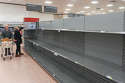 © Licensed to London News Pictures. 8/03/2020. Sheffield, UK. Sheves are empty of toilet rolls in Waitrose, Sheffield as shoppers panic buy during the coronavirus outbreak. More than 200 people have tested positive for Coronavirus in the UK Department of Health has said.  Photo credit: Ioannis Alexopoulos /LNP