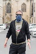 man during Covid 19 crisis France Limoux April 2020