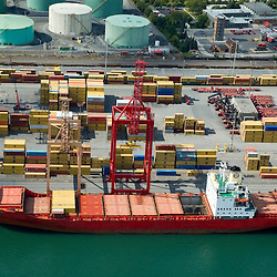 Aerial view of Container Cargo Ship in the Port of Montreal, Canada