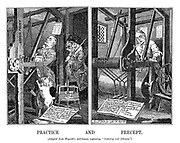 """Practice and Precept. (Adapted from Hogarth's well-known engraving, """"Industry and Idleness."""")"""