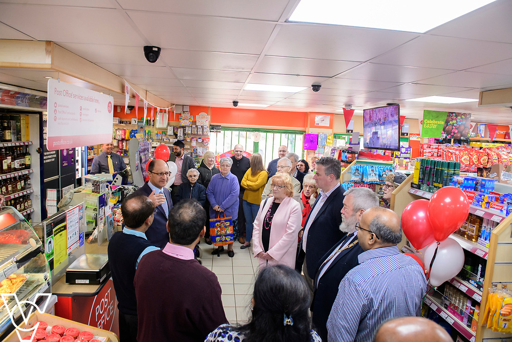 Shailesh Vara MP makes a speech after officially opening the new Matley Post Office<br /> <br /> Shailesh Vara MP has cut the ribbon to official opening of the brand new Matley Post Office, part of the Londis Store, Matley, Orton Brimbles, Peterborough. The store is owned by Subramaniam Nithythasan and Subramaniam Nithaharan.<br /> <br /> Date: April 5, 2019