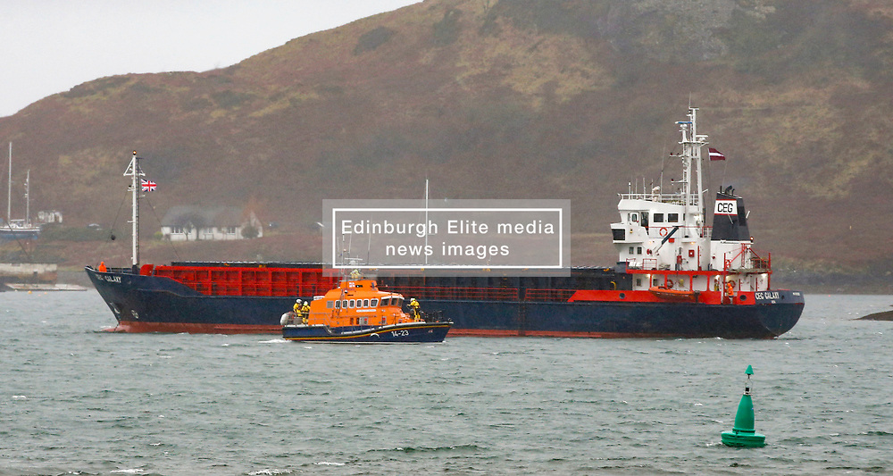 As high winds sweep the west coast Oban's RNLB Mora Edith McDonald was tasked to assist the 63 metre general cargo vessel CEG Galaxy which was dragging it's anchor in Oban Bay.... (c) Stephen Lawson   Edinburgh Elite media