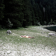 """a man sleeps on Durmitor lake.There are several arguments about the derivation of the name  """"Montenegro"""", one of these relates to dark and deep forests  that once covered the Dinaric Alps, as it was possible to see them from the sea. <br /> Mostly mountainous with 672180 habitants on an area of 13812 Km², with a population density of  48 habitants/Km². <br /> It borders with Bosnia, Serbia, Croatia, Kosovo and Albania but  Montenegro has always been alien to the bloody political events that characterized Eastern Europe in recent decades. <br /> From 3 June 2006, breaking away from Serbia, Montenegro became an independent state. <br /> In the balance between economy devoted to sheep farming and a shy tourist, mostly coming from Bosnia and Herzegovina, Montenegro looks to Europe with a largely unspoiled natural beauty. <br /> Several cities in Montenegro, as well as the park Durmitor, considered World Heritage by UNESCO but not yet officially because Montenegro has yet to ratify the World Heritage Convention of UNESCO."""