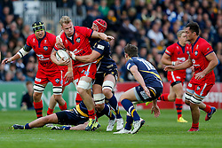 Bristol Rugby Number 8 Mitch Eadie is tackled by Worcester Lock Jonathan Thomas  - Photo mandatory by-line: Rogan Thomson/JMP - 07966 386802 - 27/05/2015 - SPORT - Rugby Union - Worcester, England - Sixways Stadium - Worcester Warriors v Bristol Rugby - Greene King IPA Championship Play-Off Final 2nd Leg.