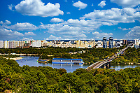 Kiev , Ukraine - August 30, 2019 : Mariinsky Park Dniepr river skyline cityscape Landmark of Kiev Ukraine Europe