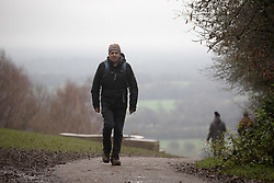 © Licensed to London News Pictures. 21/12/2020. Surrey, UK. A gloomy start to the day for walkers and sightseers on Box Hill in Surrey on the shortest day of the year as weather experts predict a wet and dull build up to Christmas. Last week Prime Minister Boris Johnson put London and parts of the South East including Surrey into Tier 4 after a new Covid-19 mutation was discovered. Photo credit: Alex Lentati/LNP