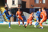 GOAL Kgosi Nthle shoots and scores 1-0 during the EFL Sky Bet League 1 match between Rochdale and Shrewsbury Town at Spotland, Rochdale, England on 9 March 2019.