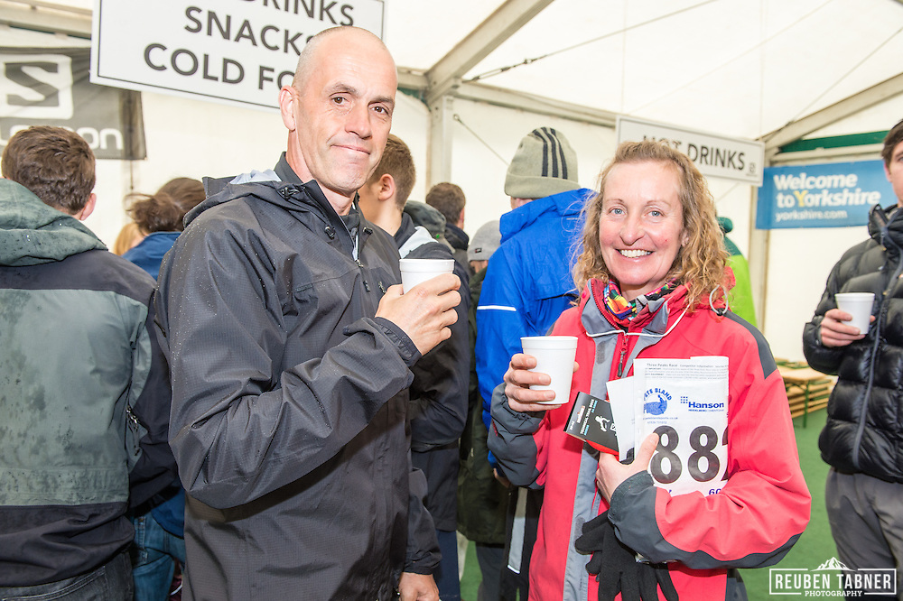 A cold grey start meant Hot drinks were in high demand at the Yorkshire Three Peaks Race.