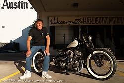 Norm Wilding with his custom 1949 Harley-Davidson Panhead trike at the Handbuilt Show. Austin, TX. USA. Sunday April 22, 2018. Photography ©2018 Michael Lichter.