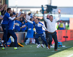 Kilmarnock's manager Lee Clark cele their second goal. Kilmarnock 4 v 0 Falkirk, second leg of the Scottish Premiership play-off final.