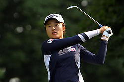 June 17, 2018 - Belmont, Michigan, United States - Yu Liu of Beijing, China follows her shot from the 2nd tee during the final round of the Meijer LPGA Classic golf tournament at Blythefield Country Club in Belmont, MI, USA  Sunday, June 17, 2018. (Credit Image: © Amy Lemus/NurPhoto via ZUMA Press)