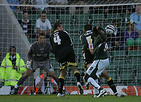 Photo: Lee Earle.<br /> Plymouth Argyle v Cardiff City. Coca Cola Championship. 15/09/2007.Plymouth's Sylvan Ebanks-Blake (R) scores their opening goal.