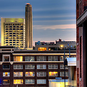 View of Liberty Memorial and the Federal Reserve Bank of Kansas City building, downtown Kansas City, Missouri.