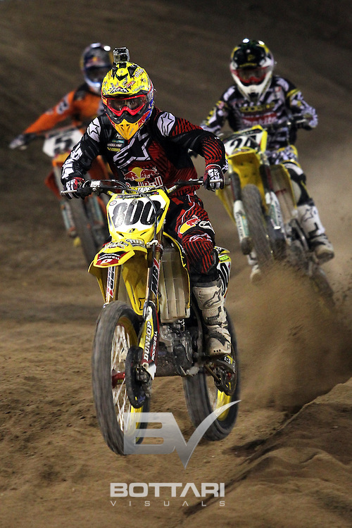 LAS VEGAS, NV - OCTOBER 15: Mike Alessi, rider of the #800 Red Bull/Alpinestars/KTM 450, races during Main Event 3 of the inaugural Monster Energy Cup on October 15, 2011 in Las Vegas, Nevada.  (Photo by Jeff Bottari/Getty Images)