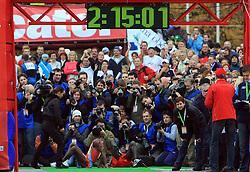 Zmagovalec na 42 km Amare Mulu (Etiopija) in drugouvrsceni Ibrahim Limo v cilju na 13. Ljubljanskem maratonu po ulicah Ljubljane, 26. oktobra 2008, Ljubljana, Slovenija. (Photo by Vid Ponikvar / Sportal Images)/ Sportida)