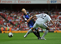 Photo: Tony Oudot/Richard Lane Photography. SV Hamburg v Real Madrid. Emirates Cup. 02/08/2008. <br /> David Jarolim of Hamburg beats Miguel Torres of Real Madrid