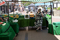 Bicester friday market  reopens in Bicester with social distancing  hand sanitizer gel for customers