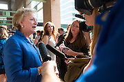Cathie Adams, president of the Texas Eagle Forum, speaks with the media after Texas Attorney General Ken Paxton makes his first court appearance in Fort Worth, Texas on August 27, 2015.  (Cooper Neill for the Texas Tribune)