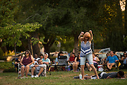 Guests enjoy heat and music as Big Blu Soul Revue performs during the City of Milpitas Summer Concert Series at Murphy Park in Milpitas, California, on July 26, 2016. (Stan Olszewski/SOSKIphoto)