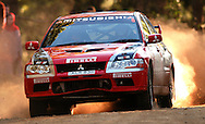 Spencer Lowndes & Chris Randall.Mitsubishi Lancer Evo VII.2003 Falken Rally of Queensland.Imbul State Forest, QLD.13th-15th of June 2003 .(C) Joel Strickland Photographics