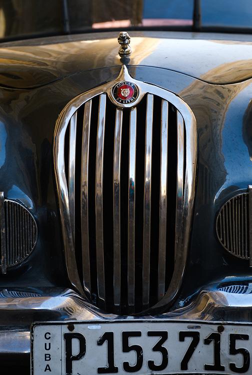 HAVANA, CUBA - CIRCA JANUARY 2020: Detail of old  Jaguar classic car in Havana.
