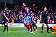 Lee Novak of Scunthorpe United (17) rues a saved shot during the EFL Sky Bet League 1 match between Scunthorpe United and Sunderland at Glanford Park, Scunthorpe, England on 19 January 2019.