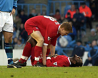 Fotball, 5. desember 2003 , Manchester City v Liverpool, AXA FA Cup, Maine Road, Manchester. <br />Liverpool's John Arne Riise  og Salif Diao.<br />Photo. Jed Wee, Digitalsport