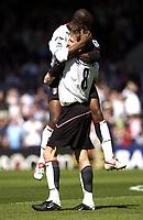 Photo: Daniel Hambury, Digitalsport<br /> Fulham v Norwich City.<br /> FA Barclays Premiership.<br /> 15/05/2005.<br /> Fulham's goal scorer Brian McBride celebrates with Luis Boa Morte.