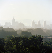 A hazy city view of Beijing, China