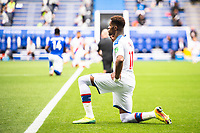 LEICESTER, ENGLAND - JULY 04: Wilfried Zaha of Crystal Palace takes the knee ahead of the Premier League match between Leicester City and Crystal Palace at The King Power Stadium on July 4, 2020 in Leicester, United Kingdom. Football Stadiums around Europe remain empty due to the Coronavirus Pandemic as Government social distancing laws prohibit fans inside venues resulting in all fixtures being played behind closed doors. (Photo by MB Media)